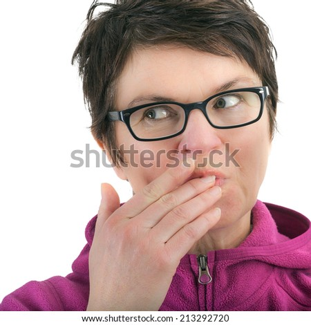 Woman licks his fingers - stock photo
