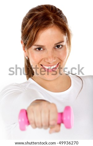 Woman lifting a free-weight and smiling isolated over a white background