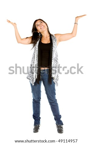 Woman lifting an imaginary object isolated over a white background