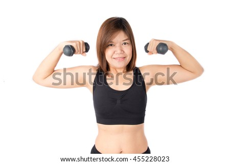 Woman lifting dumbbell weight training to get strong and remove fat