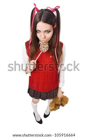 woman like a bad schoolgirl with lollipop - stock photo