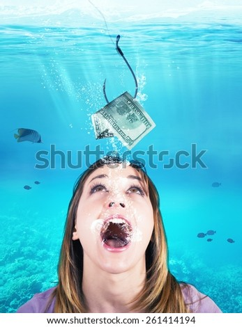 Woman like a fish takes the bait - stock photo