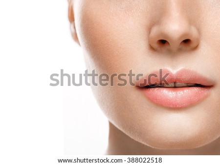 Woman lips nose nature skin - stock photo