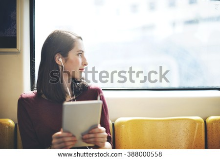 Woman Listening Music Media Entertainment Traveling Concept - stock photo
