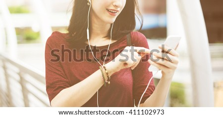 Woman Listening Music Media Entertainment Walking Concept