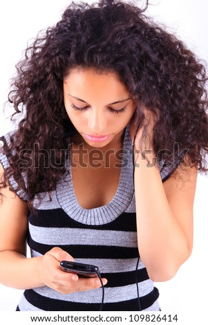 woman listening to music black african - stock photo