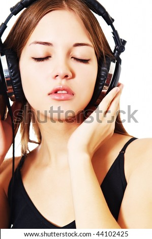 woman listening to music eyes closed - stock photo