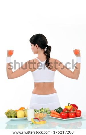 Woman living a healthy lifestyle - stock photo