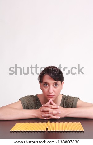 Woman looking after the gap in your life. / niche product - stock photo