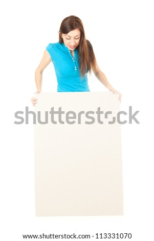 woman looking at empty billboard, white background - stock photo