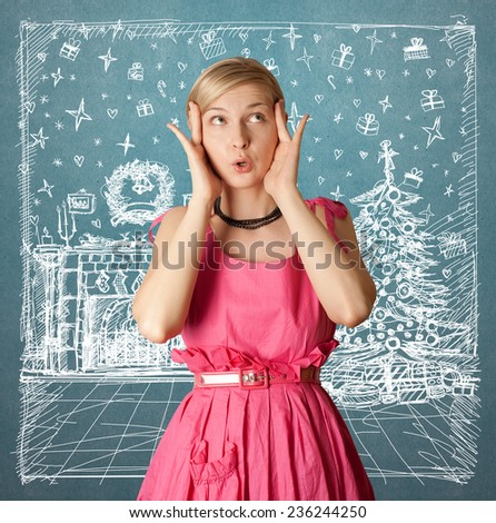Woman looking for Christmas gifts and choosing it - stock photo