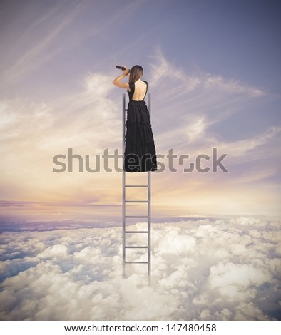 Woman looking for new fashion style - stock photo