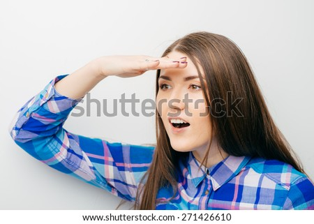 woman looking into the distance - stock photo