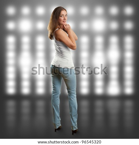 woman looking on camera against different backgrounds - stock photo