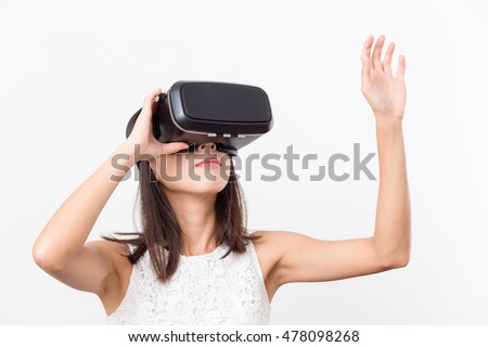 Woman looking though virtual reality
