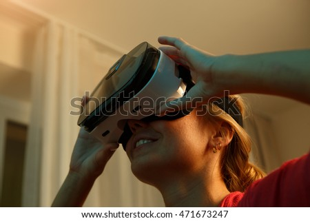 Woman looking though vr