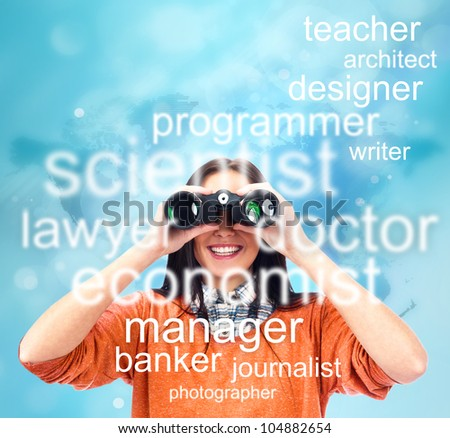 Woman looking through binoculars for specialty to study or job. People at job market concept