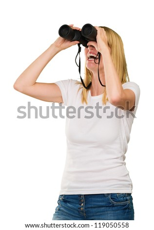 Woman Looking Through Binoculars Isolated On White Background - stock photo