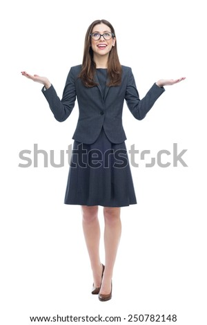 Woman looking up and gesturing  - stock photo