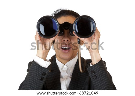 Woman looks through binoculars searching for business. Isolated on white background. - stock photo