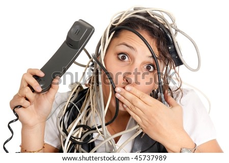 woman lost in technology and tangled with cables calling support on phone
