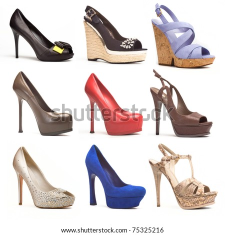 woman luxury  shoes collection on white - stock photo