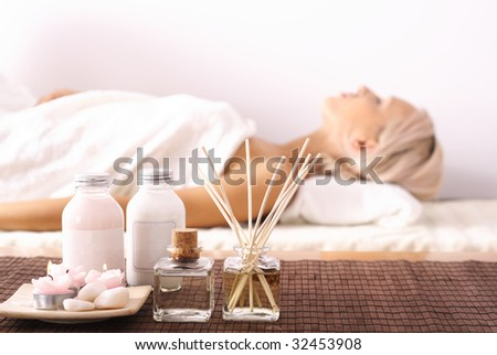 Woman lying in SPA - stock photo