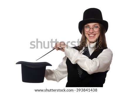 Woman magician isolated on the white - stock photo