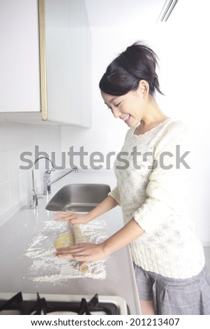 Woman making cookies