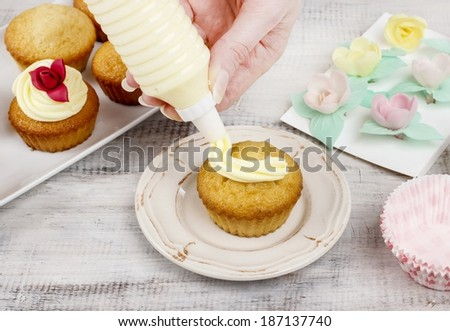 Woman making cupcakes - stock photo