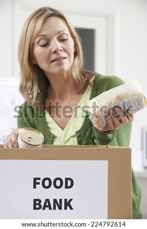Woman Making Donation To Food Bank - stock photo