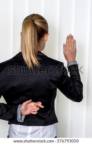 woman making false statement - stock photo