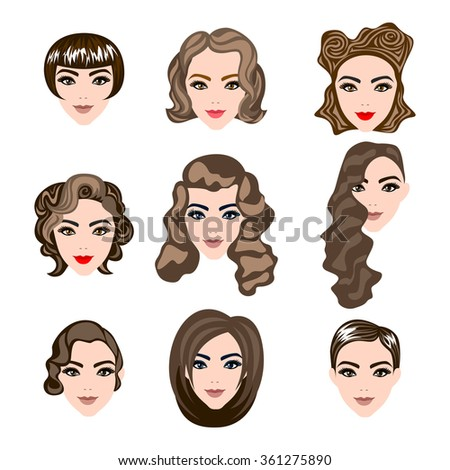 woman , man hair, vector hairstyle silhouette brunette hairstyle - stock photo