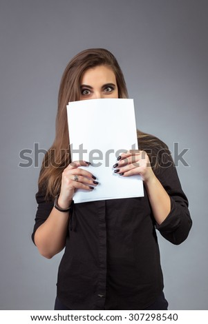Woman manager - businesswoman holding papers in hands