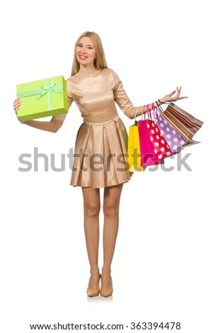 Woman many shopping bags after shopping isolated on white - stock photo