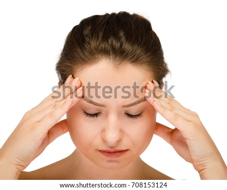 Woman massaging head pain on white background