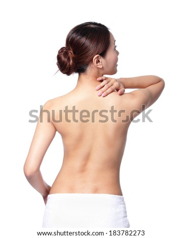 Woman massaging pain back and shoulder isolated on white background, asian