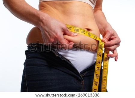 Woman measuring fat belly. Diet and weight loss concept. - stock photo