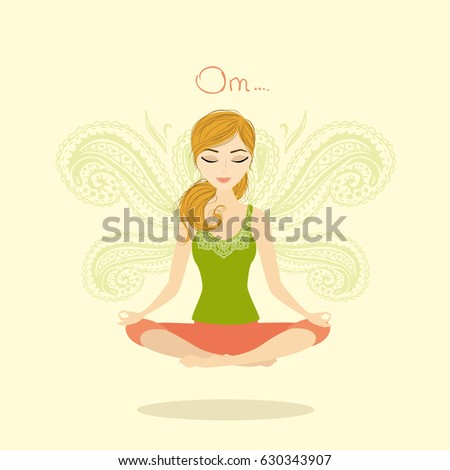 Woman meditating and relaxing in lotus pose,  cartoon illustration
