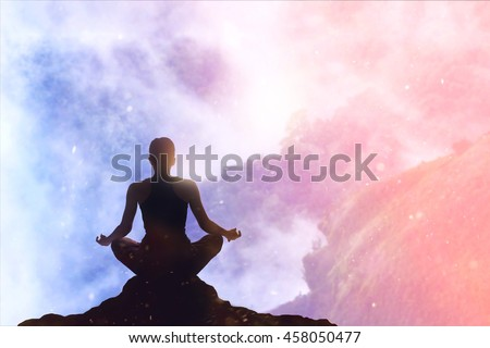 woman meditating colorful pastel on high mountain in sunset background