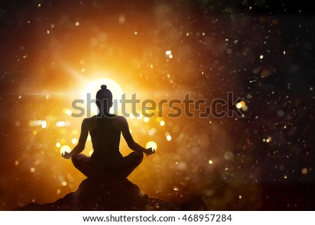 beautiful lotus flower woman yoga pose stock illustration