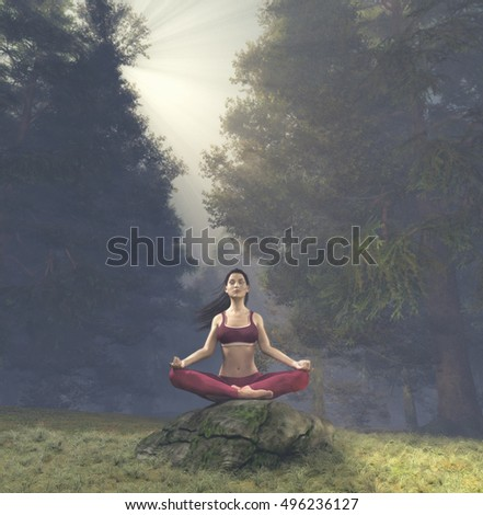 Woman meditating in lotus posture, doing yoga  on a rock  in the forest. This is a 3d render illustration.