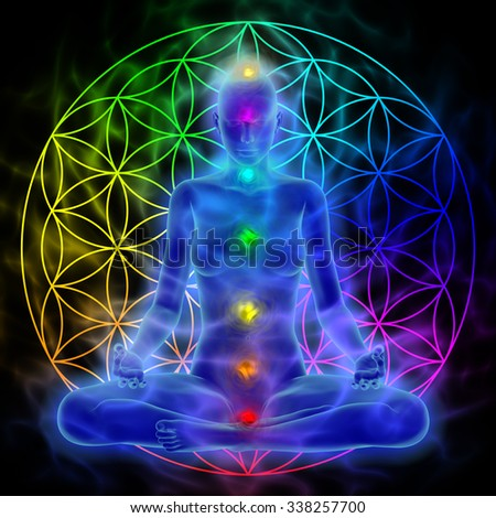 Woman meditating, symbol flower of life - stock photo