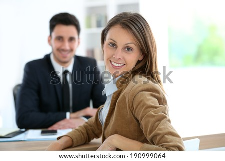 Woman meeting financial adviser for business project - stock photo