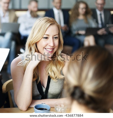 Woman Meeting Work Talking Smiling Concept