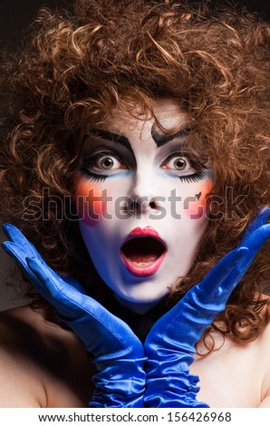 woman mime with theatrical makeup - stock photo