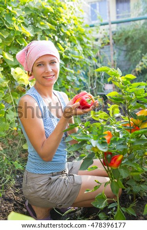 Woman near the beds of pepper in the garden