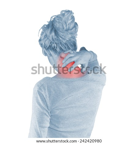 Woman neck pain in his hands. - stock photo
