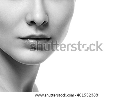 Woman neck shoulder lips nose black and white  - stock photo