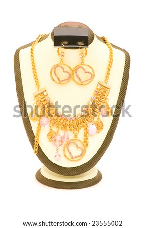 Woman necklace isolated on the white background